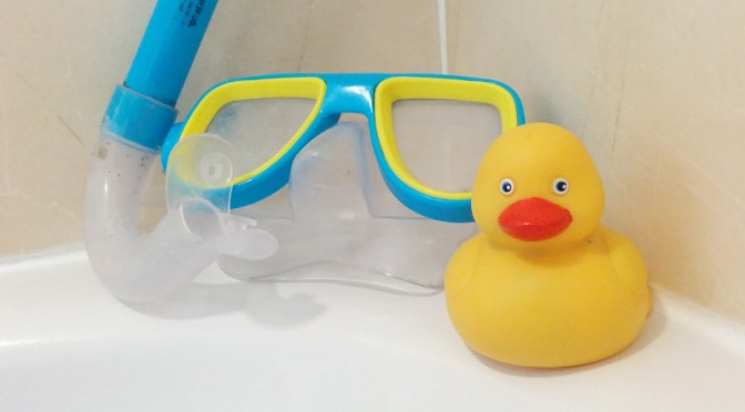Sam the Duck with a snorkel